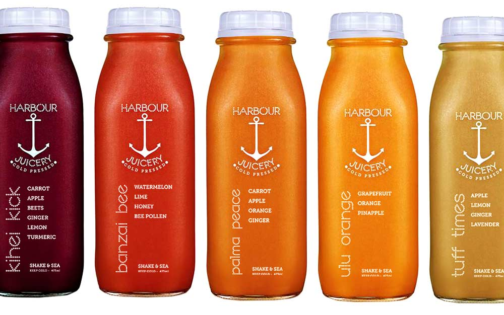 Harbour Juicery branding, logos and packaging in Calgary, Alberta.