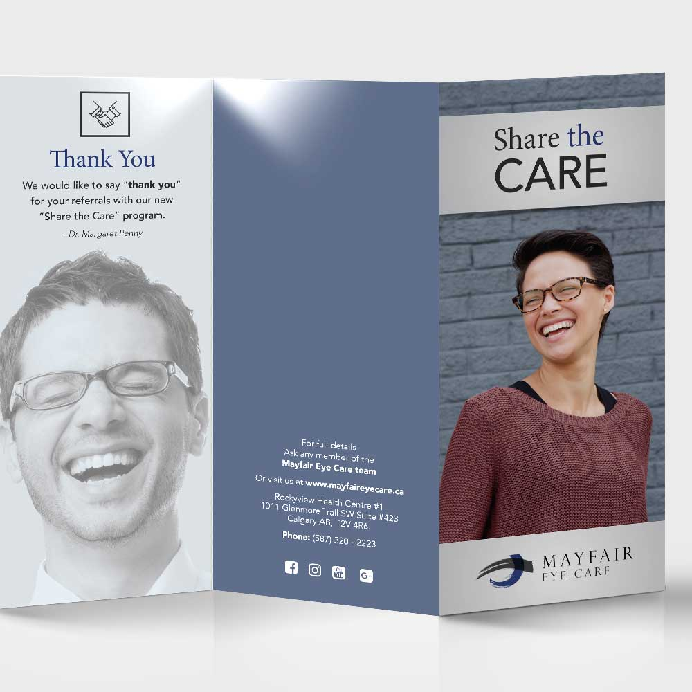 Mayfair Eye Care printed collateral and marketing material design