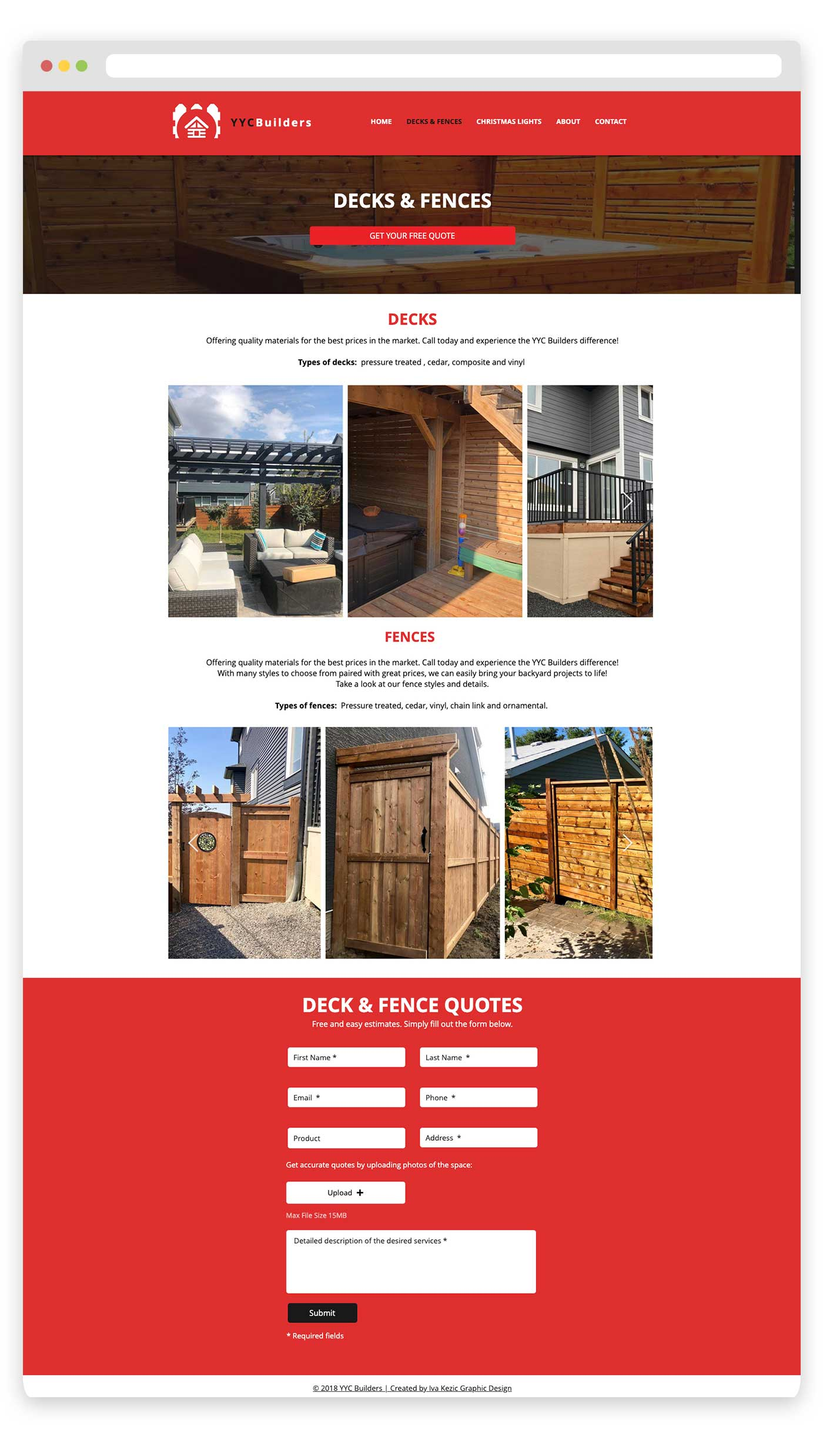 YYC Builders website design Calgary