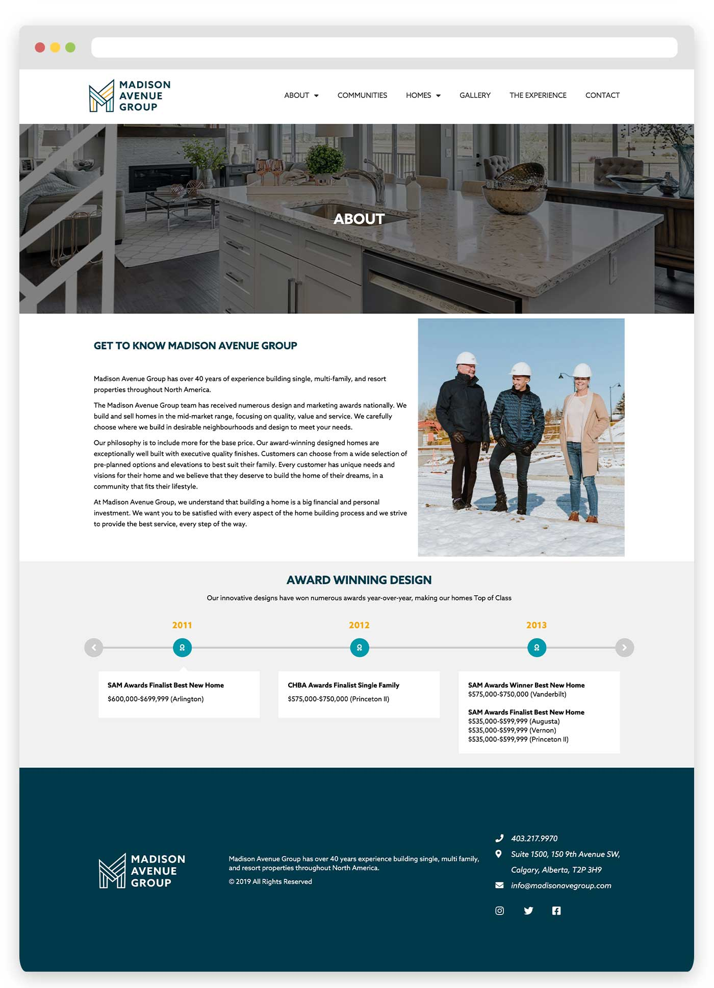 Madison Avenue Group About Page, Calgary Home Builder, Iva Kezic Website Design