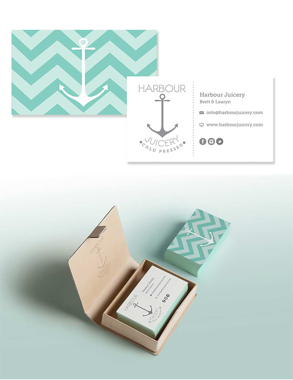 Harbour Juicery Branding, Logos, and Business Cards.