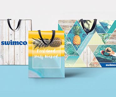 Custom designed recyclable bags for Swimco in Calgary, Alberta