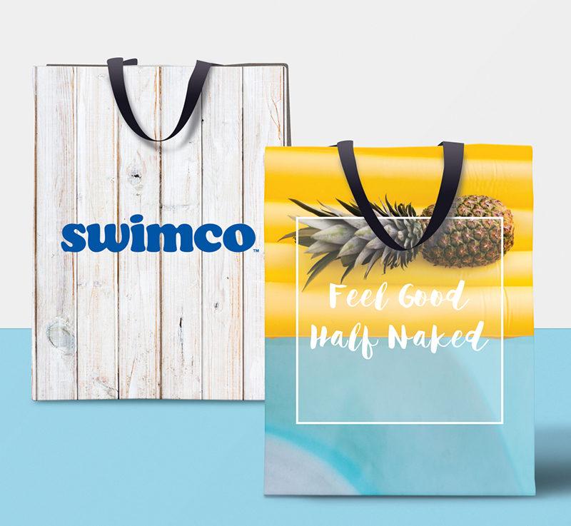 Swimco, Calgary based swimwear retailer. Custom packaging and recyclable bag designs.