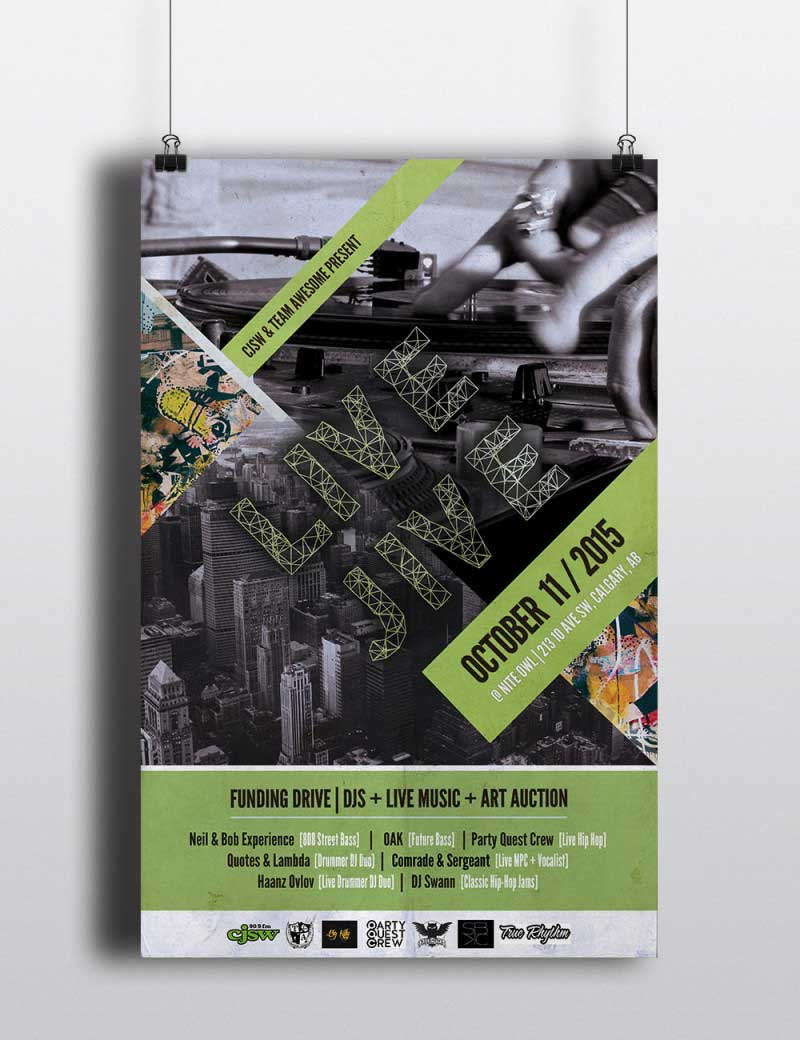 Poster design created for Live Jive event in Calgary, Alberta