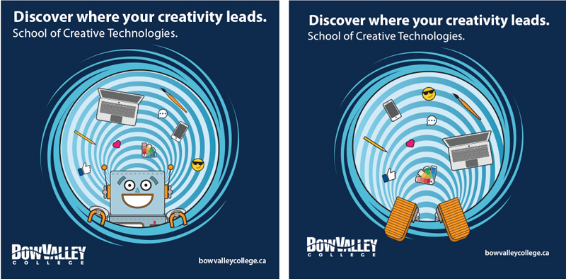Bow Valley College Creative Technologies Campaign Floor decal design