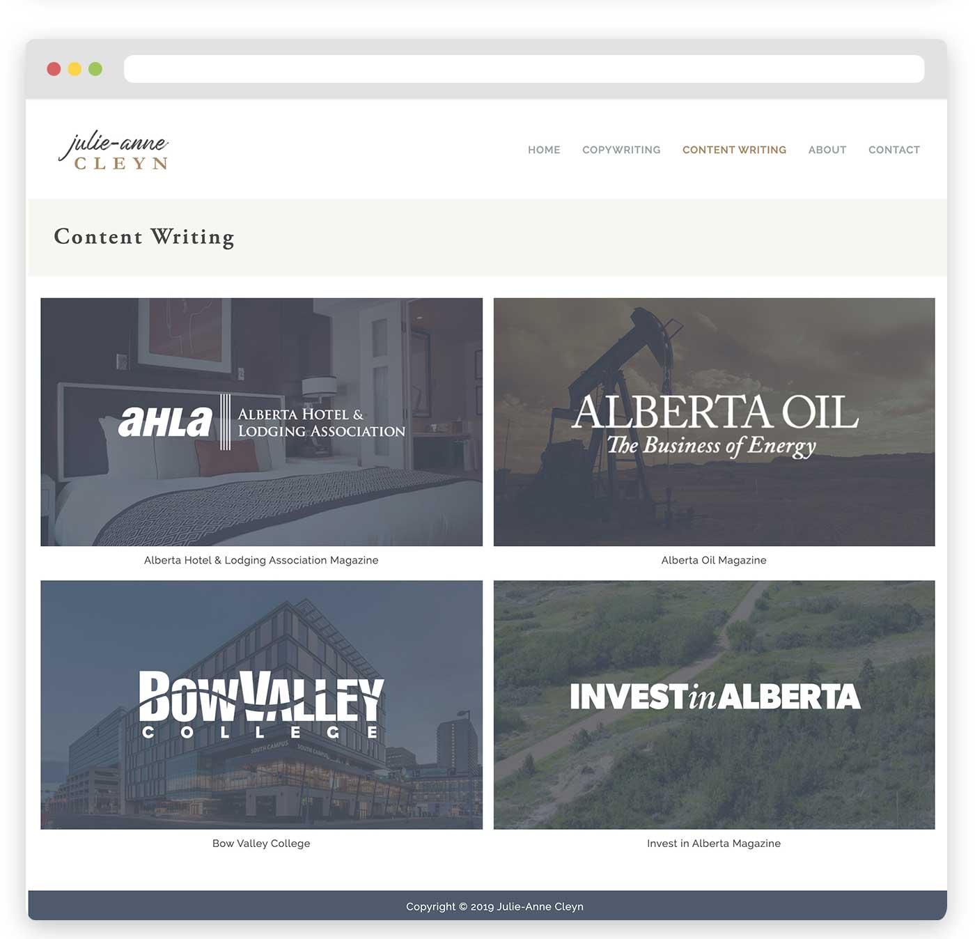 Julie-Anne Cleyn Custom Squarespace Website Design Calgary