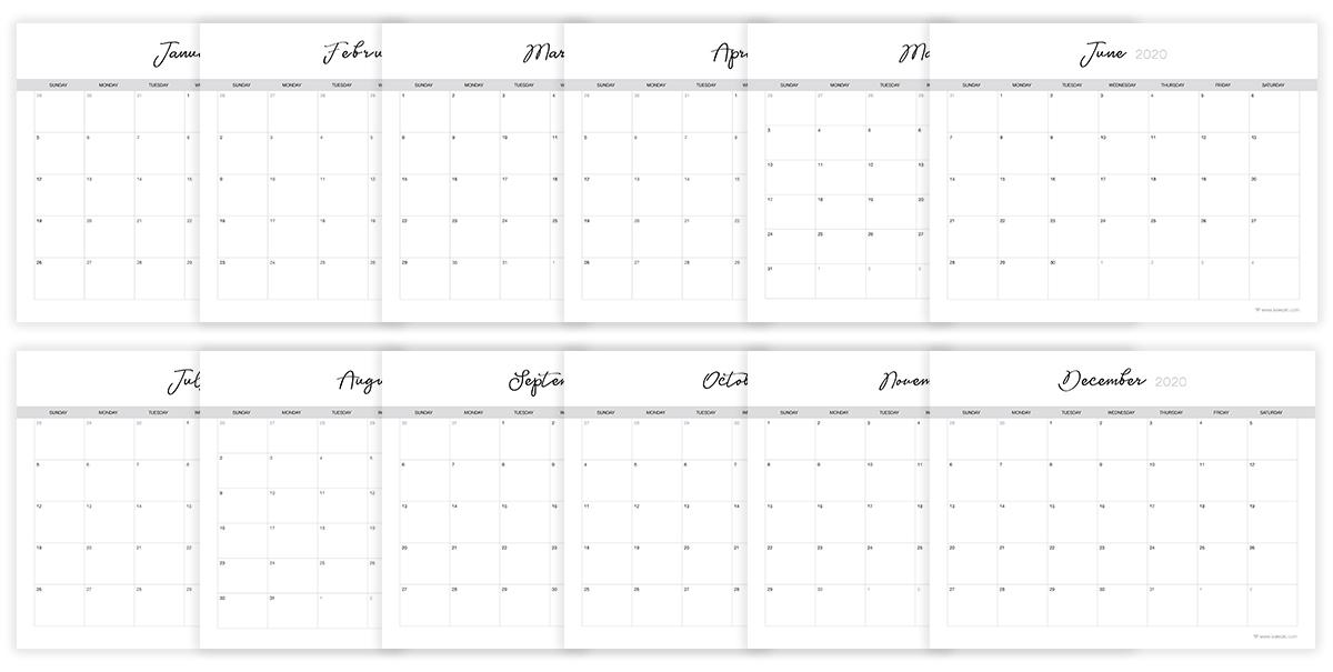 Free 2020 Calendar, Print at home