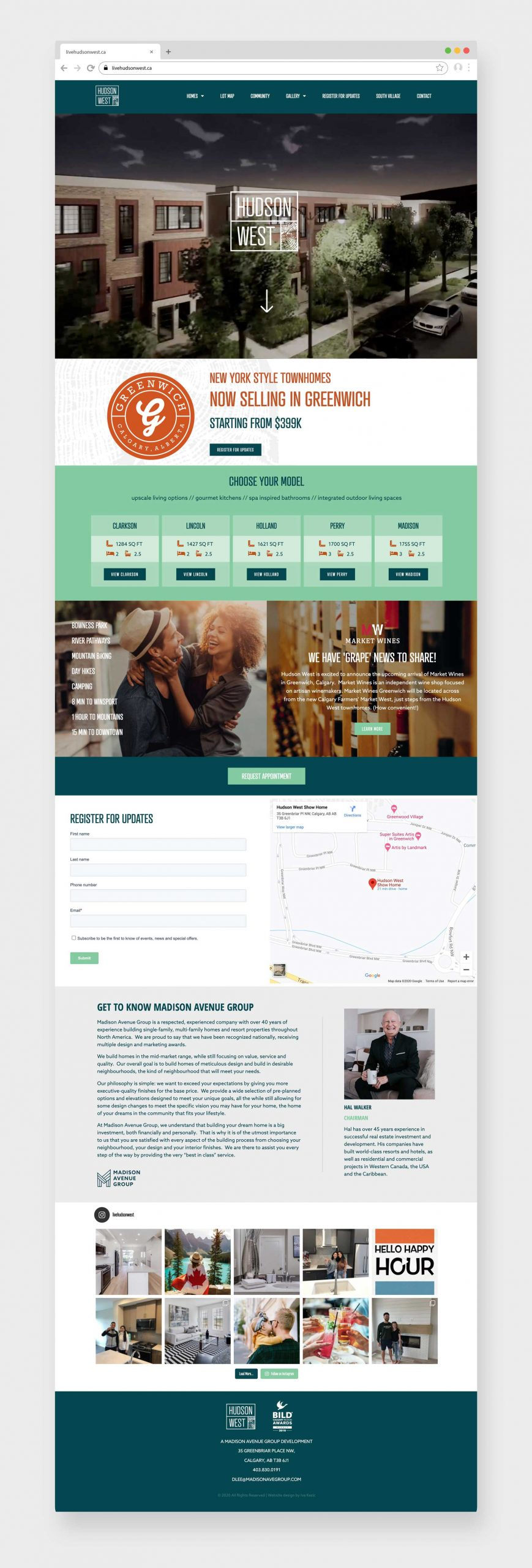 Hudson West Calgary, Website Design, BILD 2019 Award Winner