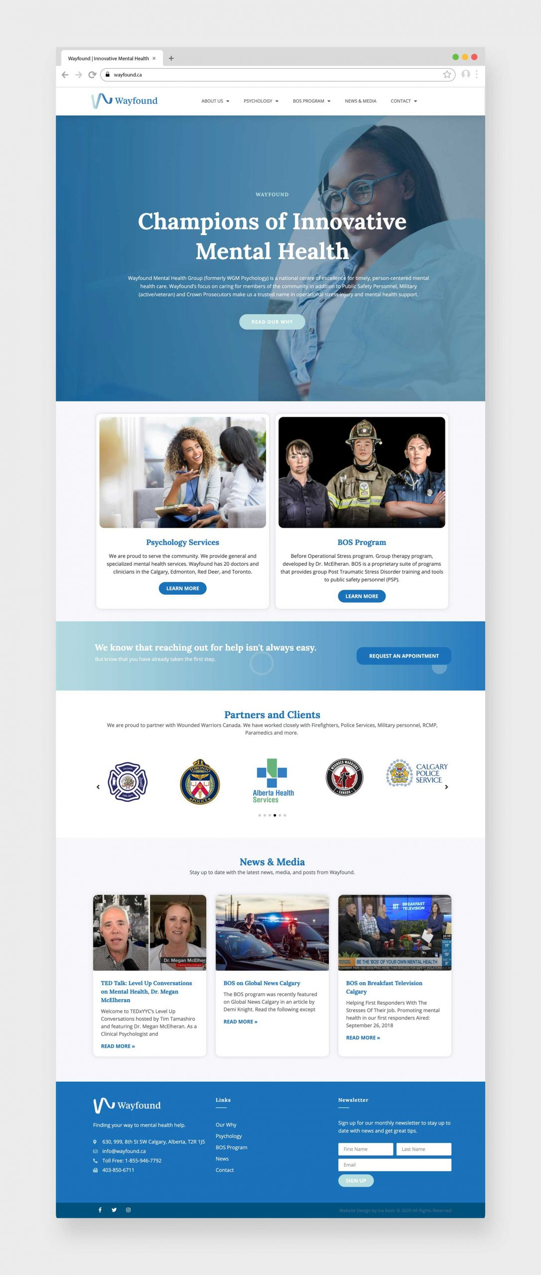 Wayfound Mental Health Group Calgary, Website Design