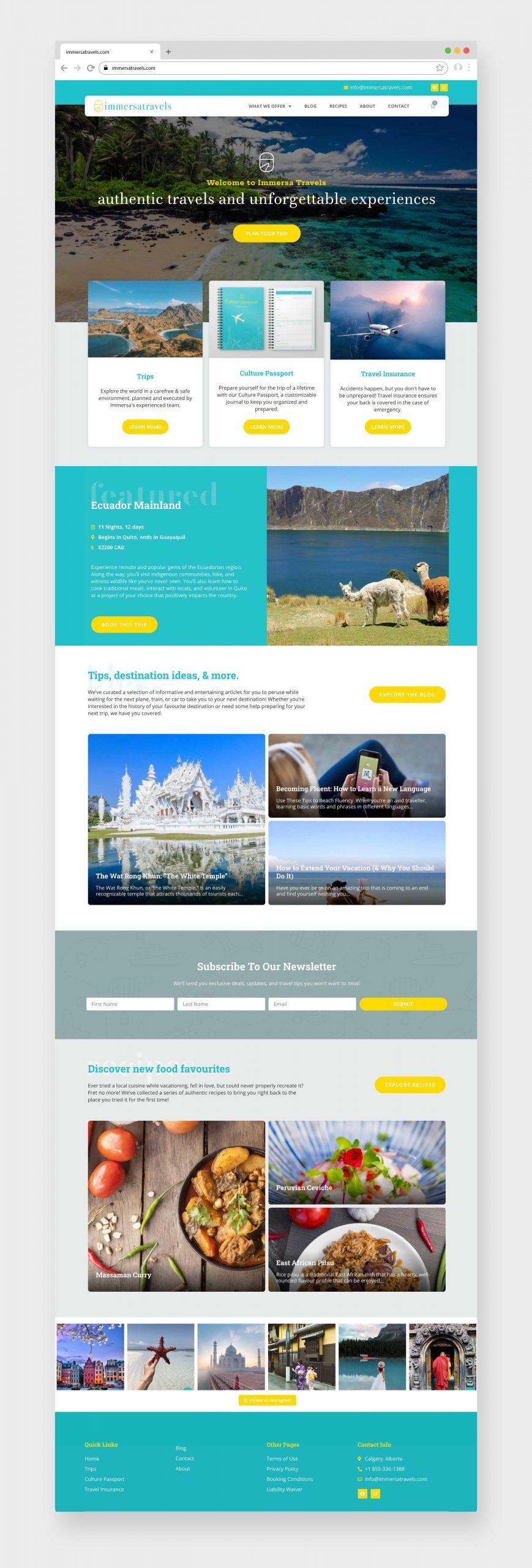 Immersa Travels Website Design